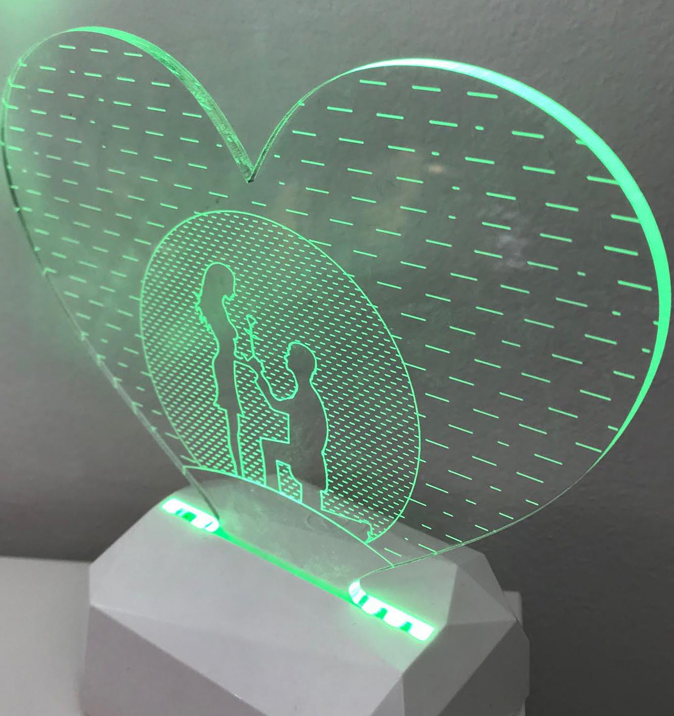 3D Acrilico Forma Cuore Figura Proposta Di Matrimonio (3DE904) - PZ