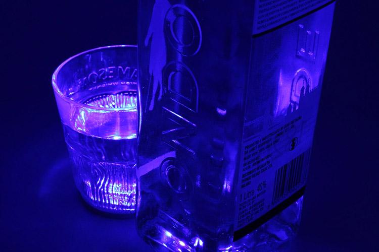 2 PZ Luce Led Sottobottiglia Sottobicchiere Colore Blu Blue Luminoso Per Decorazione Festiva Bar Pub DJ - KIT