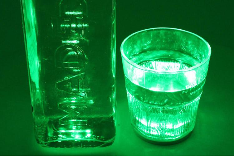 2 PZ Luce Led Sottobottiglia Sotto Bicchiere Colore Verde Green Decorazione Festa Cerimonia Matrimonio - KIT