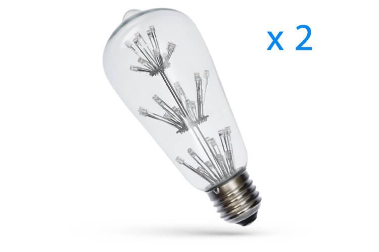 2 PZ Lampade Led Giallo Arancione 3W 45 Led F3 Diametro 64mm Altezza 143mm