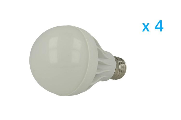 4 PZ Lampade Led E27 Bulbo 7W=60W Bianco Freddo Diametro 64mm Altezza 107mm