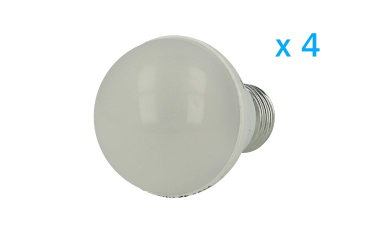 4 PZ Lampade Led E27 Bulbo 5W=50W Bianco Caldo Diametro 55mm Altezza 90mm