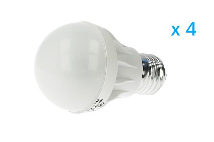 4 PZ Lampade Led E27 Bulbo G55 5W=45W Bianco Freddo