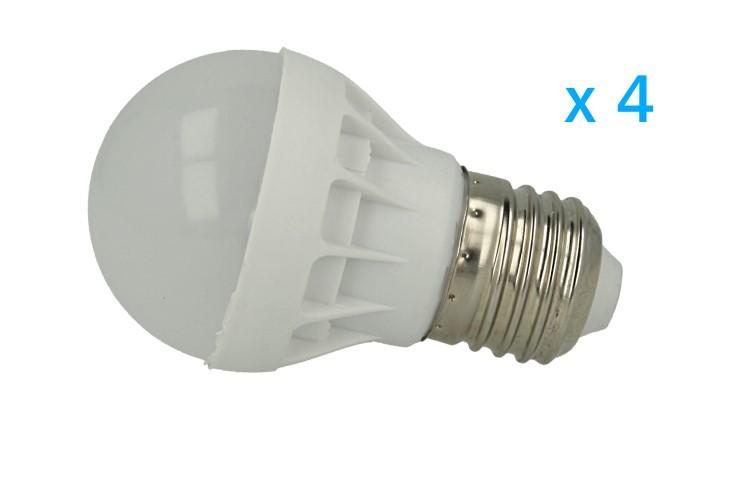 4 PZ Lampade Led E27 Bulbo 3W=30W Bianco Freddo Diametro 50mm Altezza 80mm