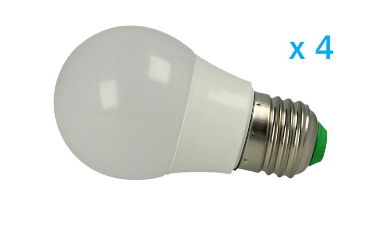 4 PZ Lampade Led E27 Bulbo 3W=30W Bianco Caldo Diametro 50mm Altezza 94mm