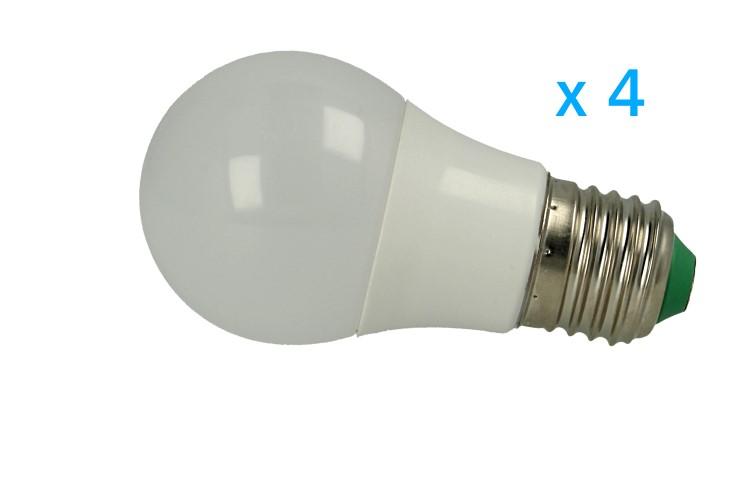 4 PZ Lampade Led E27 Bulbo 3W=30W Bianco Freddo Diametro 50mm Altezza 94mm