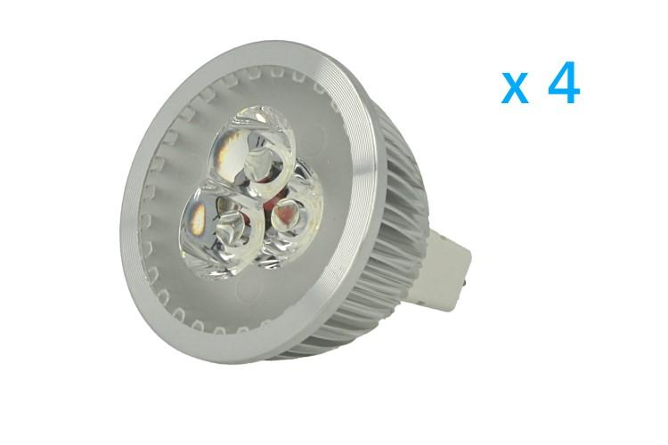 4 PZ Faretto Lampada LED Dicroica MR16 GU5.3 12V 3W Bianco Freddo 6000K