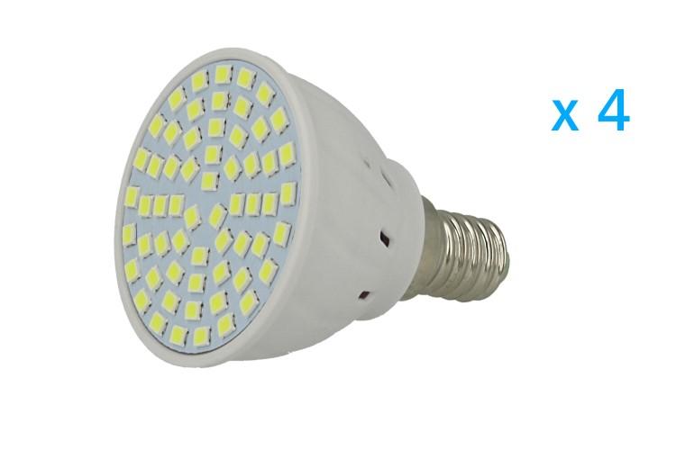 4 PZ Lampade Led E14 Spot 3,5W=35W Bianco Freddo Diametro 50mm Con 60 smd 2835