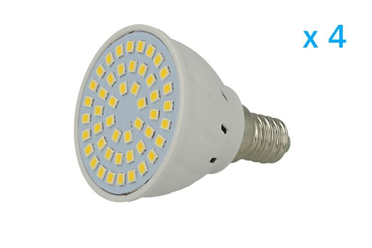 4 PZ Lampade Led E14 Spot 3W=30W Bianco Freddo Diametro 50mm Con 48 smd 2835