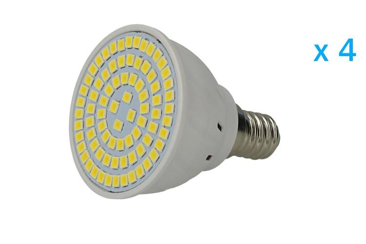4 PZ Lampade Led E14 Spot 4W=40W Bianco Caldo Diametro 50mm Con 80 smd 2835