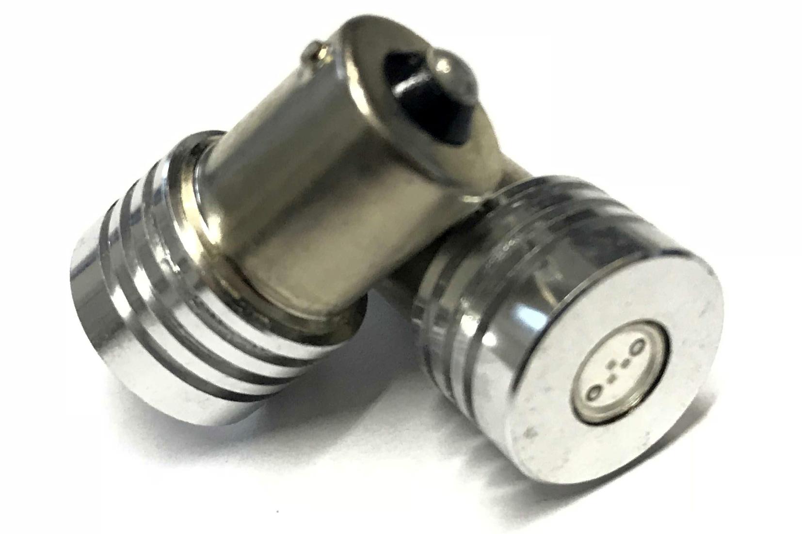 Coppia 2 Lampade Led BA15S 1156 P21W Con 1 Power Led Da 1W Colore Blu Blue 12V 1