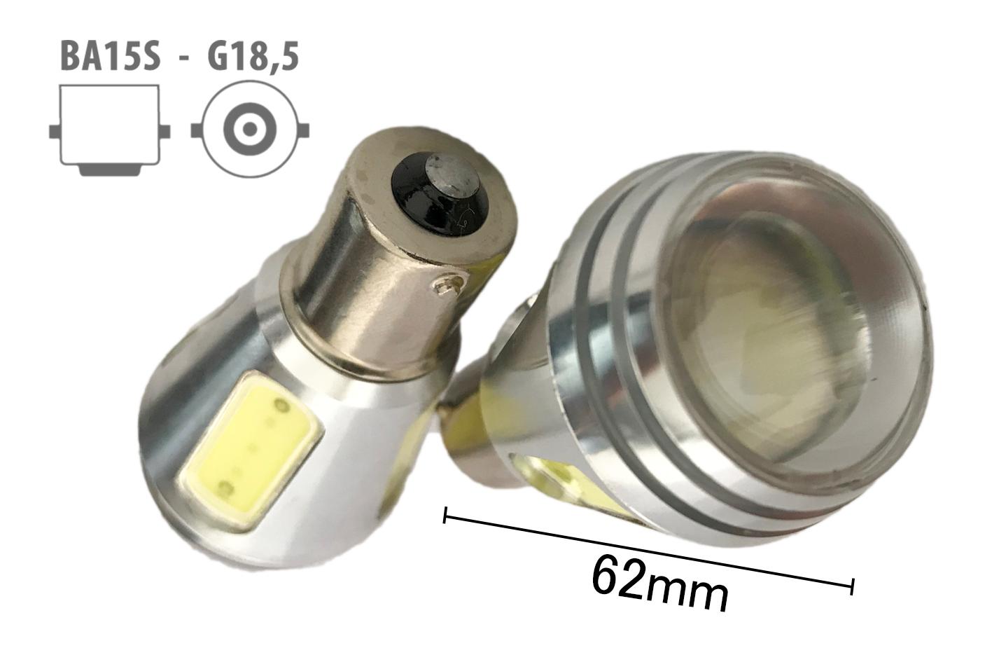 Coppia 2 Lampade Led BA15S 1156 P21W Con 5 Power Led Da 2W Bianco Freddo 6000K 1