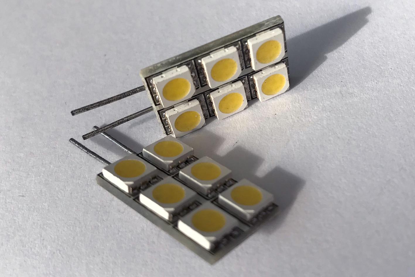 Coppia 2 Lampade Led G4 Con 6 Smd 5050 Colore Bianco Caldo 3000K 12V 1W