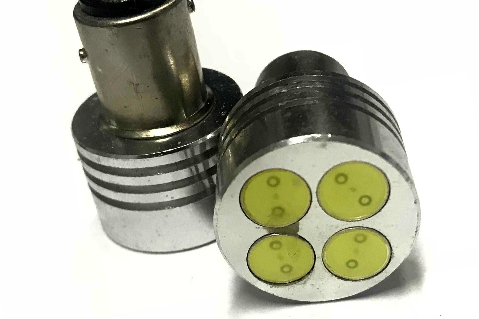 Coppia 2 Lampade Led BAY15D 1157 P21/5W Con 4 Power Led Da 1W Bianco Freddo 6000