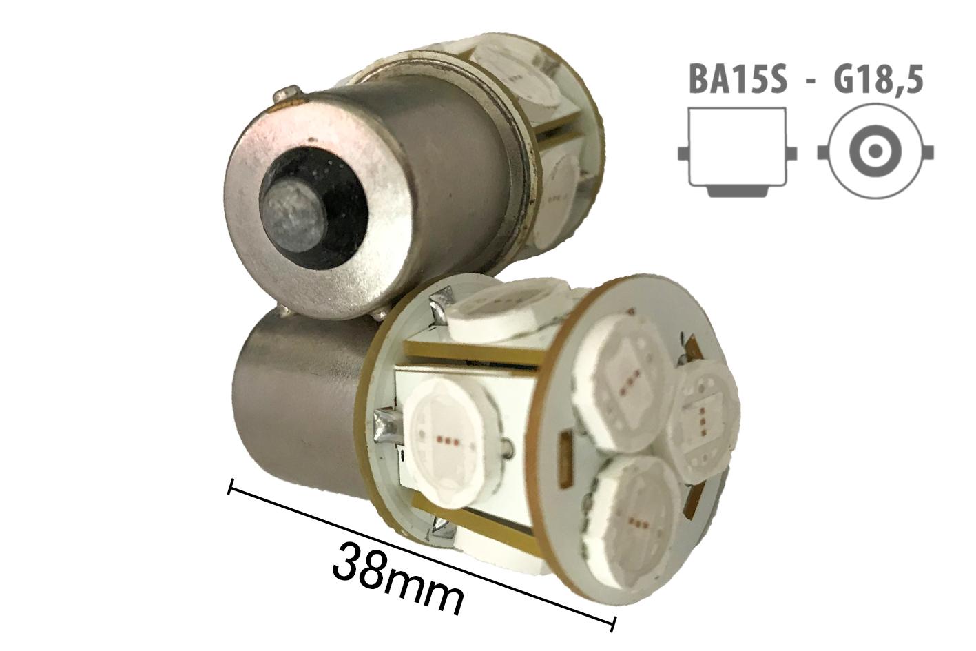 Coppia 2 Lampade Led BA15S 1156 P21W Con 8 Smd 9080 Colore Giallo Arancione 12V