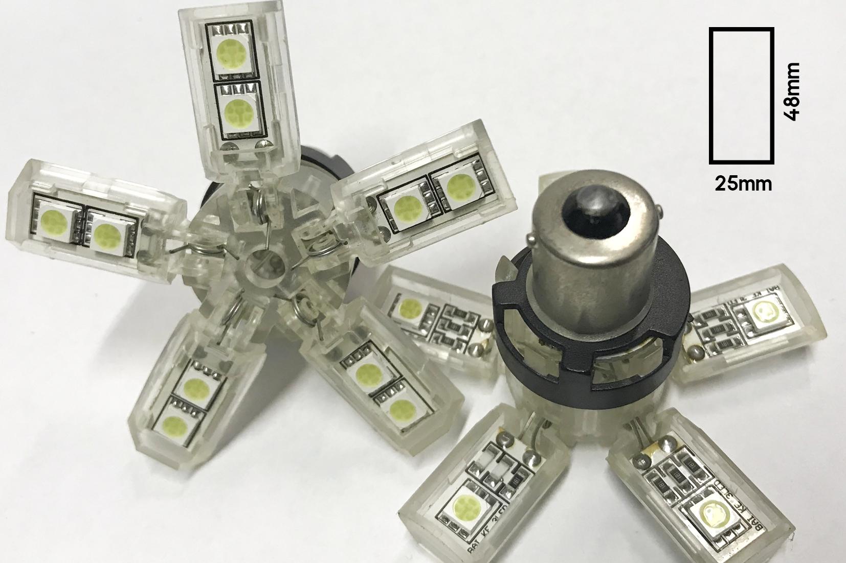 Coppia 2 Lampade Led BA15S 1156 P21W Con 15 Smd 5050 Bianco Freddo 6000K 12V 2W