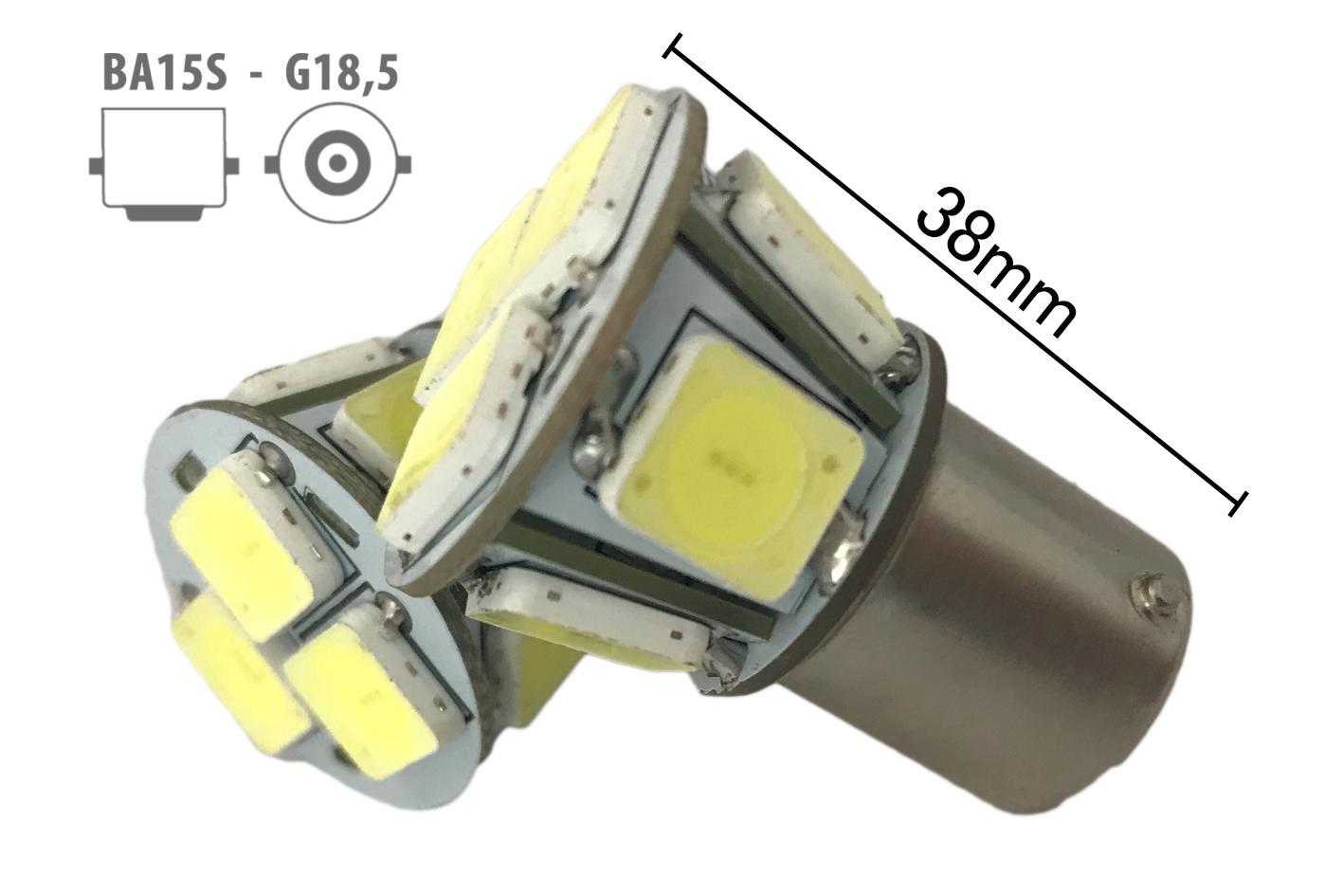 Coppia 2 Lampade Led BA15S 1156 P21W Con 8 Smd 9080 Bianco Freddo 6000K 12V 4W