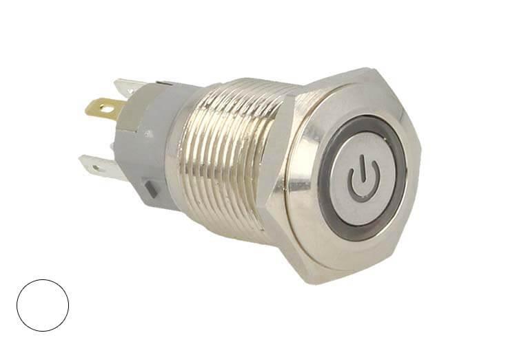 Interruttore a Bilanciere Rotondo 5 Pin Metallo Con Spia Led Bianco Freddo 12V Auto Barca Foro 16mm - PZ