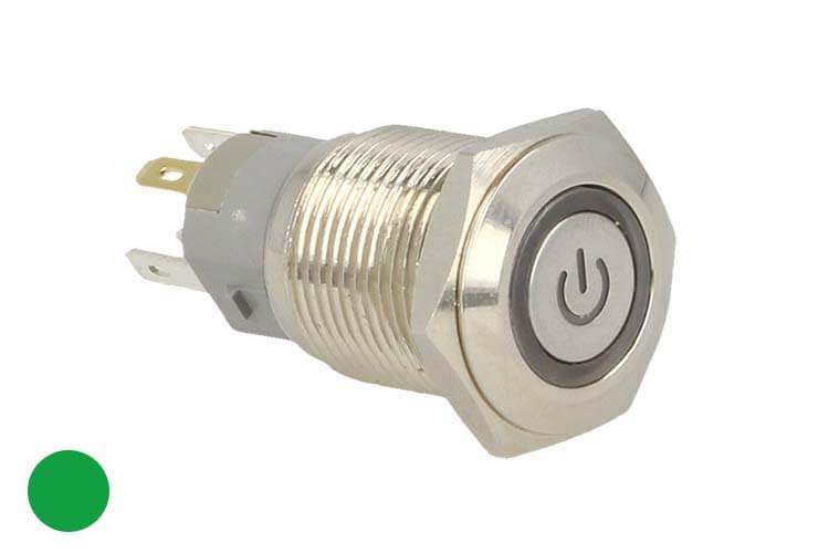 Interruttore Bilanciere Metallo Rotondo 5 Pin Con Spia Led Verde 12V Auto Camper Foro 16mm Stagno IP67 - PZ