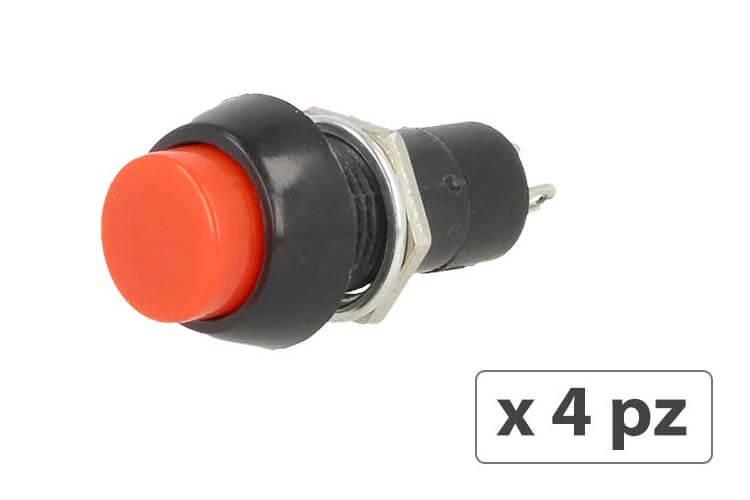 4 PZ Interruttore Pulsante Rotondo Momentaneo On Off 12V Push Button Switch 2 Pin Auto Barca Foro 12mm - BUSTA