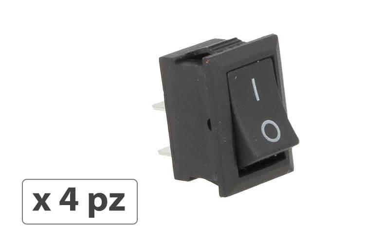 4 PZ Interruttore Pulsante Bilanciere Quadrato Bipolare 12V Push Button Switch 2 Pin Auto Barca Foro 12X19mm - BUSTA