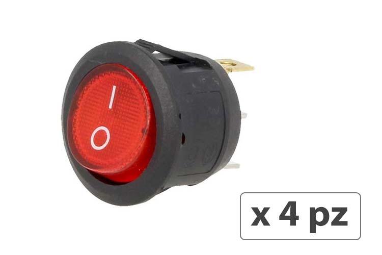 4 PZ Interruttore Rotondo Pulsante Bilanciere On Off Push Button Switch 3 Pin Con Indicatore Led Spia Rosso 12V Auto Barca Foro 20mm - BUSTA