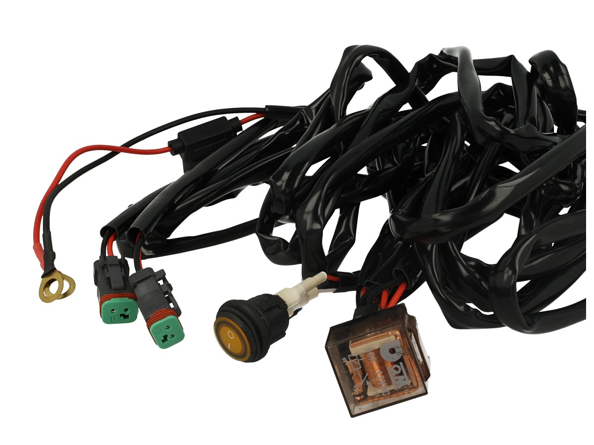 Kit Cablaggio 12V Con Interruttore Rele 80A Fusibile 30A Con Doppio Connettori DT Per Installazione Barra Led Nel Jeep Fuoristrada - PZ