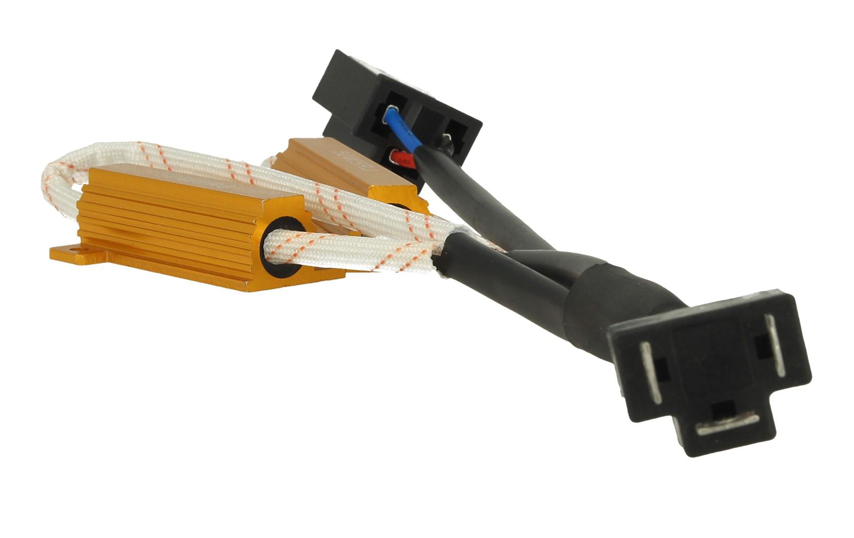 Filtro Portalampada Resistenza Per Lampada Led H4 No Errore Warning Canceller Con Doppia Resistenza 50W 5 Ohm - PZ