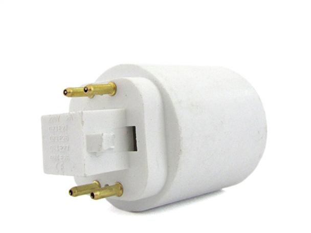 2 PZ Convertitore Adattatore Portalampada Per Lampada Attacco Da G24 4 Pin A E27 - BUSTA