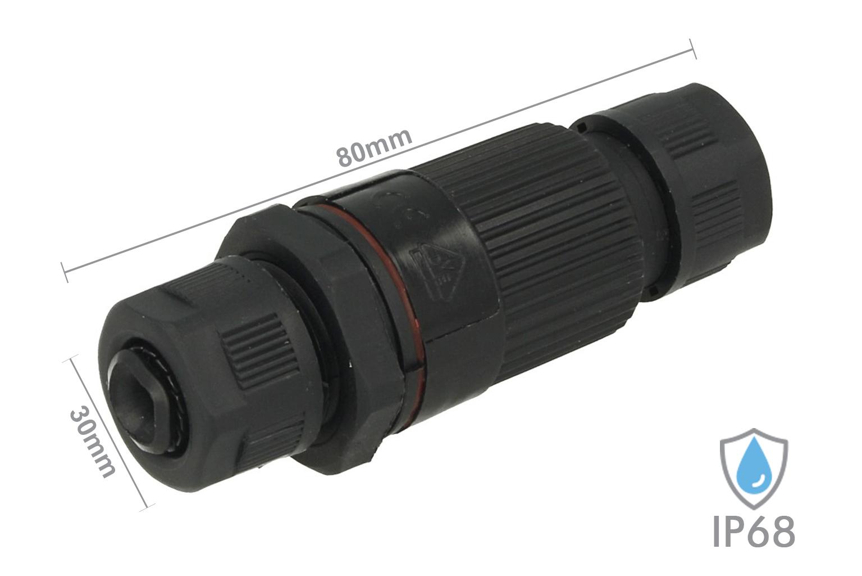 Connettore Manicotto di Collegamento IP68 3 Poli Modello Plug Play Maschio Femmina Piu Facile Max 2,5mmq - KIT