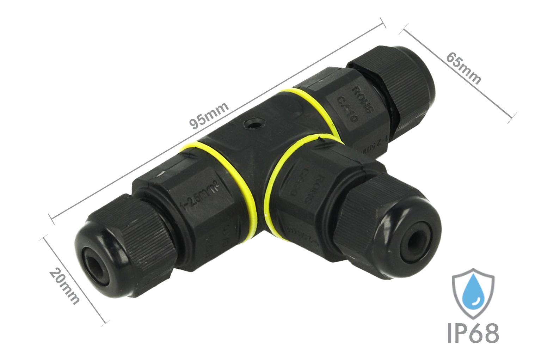 Connettore Manicotto di Collegamento IP68 Forma T Cavo Raccordo Impermeabile 3 Poli Max Sezione 2,5mmq - PZ