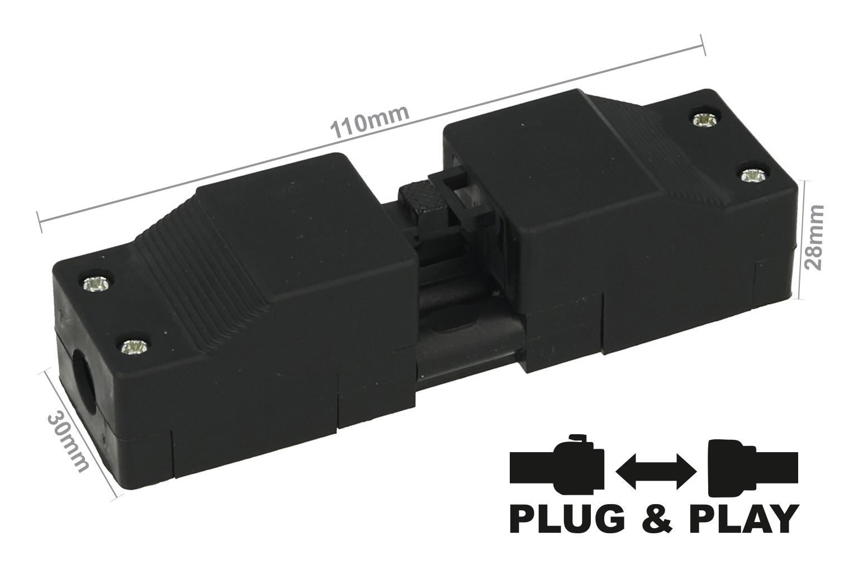 Connettore Innesto Con Pressacavo Montaggio Su Cavo 3 Pin Collegabile Maschio e Femmina Pluggable IP30 - KIT
