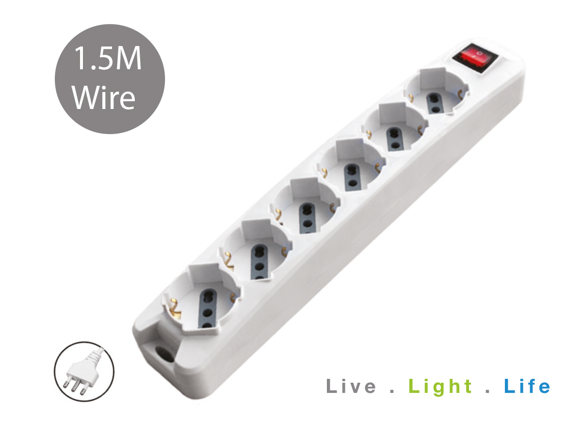 Multipresa Ciabatta Elettrica Spina 16A 2P+T 6 Posti 10/16A Schuko Cavo 1,5 Metri Max 2500W 3X1.0 mmq SKU-8713 - PZ