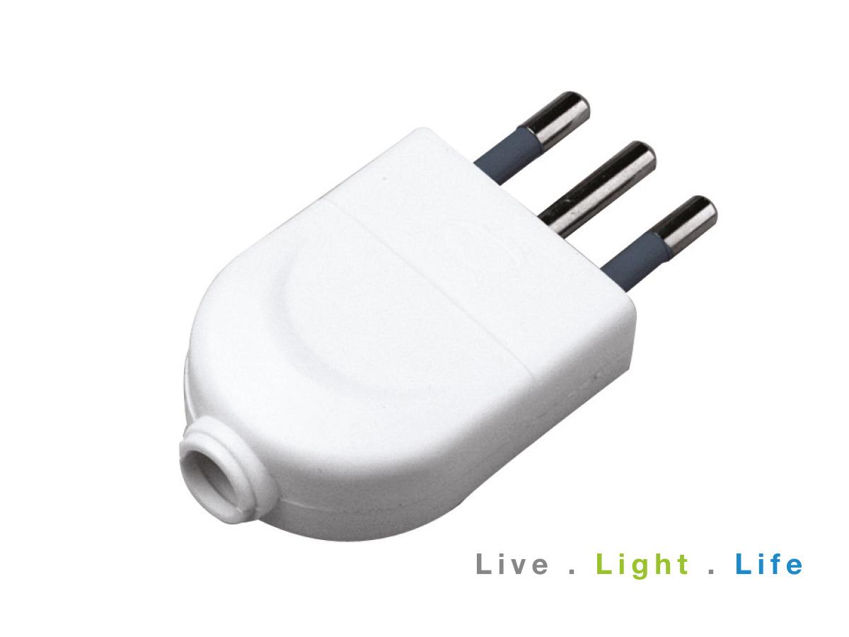 Spina Elettrica 2P+T 10A 250V Bianco SKU-8717 - PZ