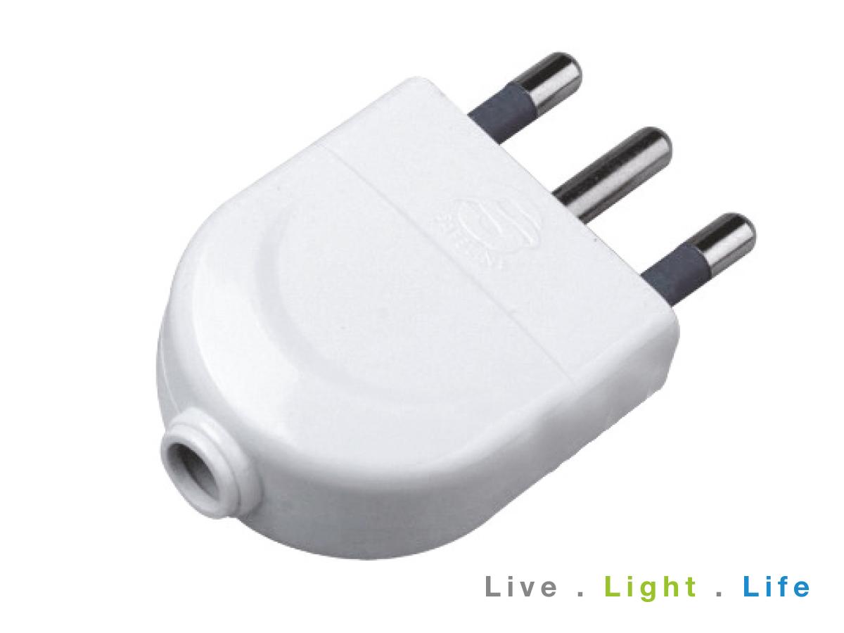 Spina Elettrica 2P+T 16A 250V Bianco SKU-8718 - PZ