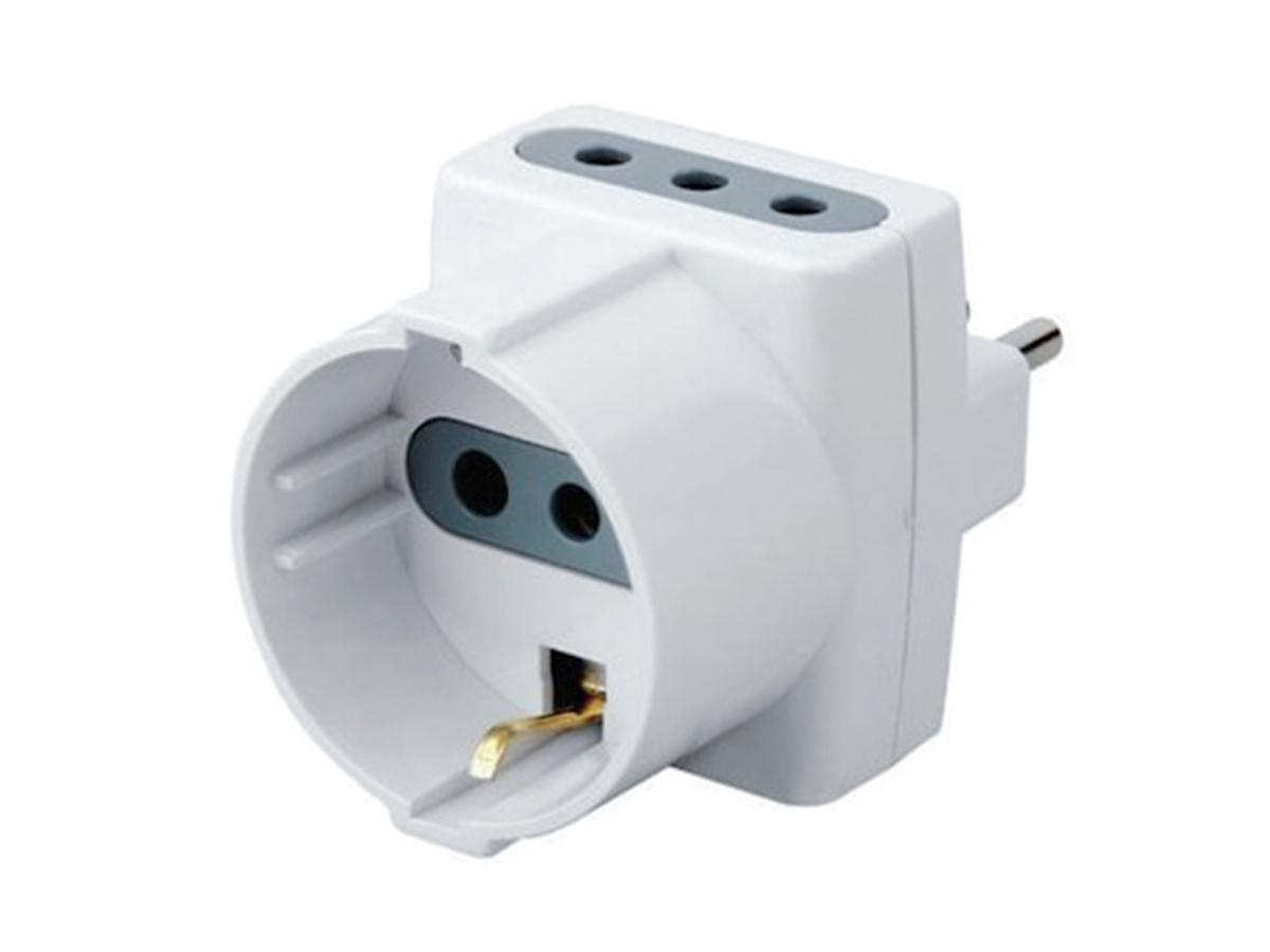 Adattatore Spina Elettrica 10A 2P+T Con 2 Prese 10A + 1 Schuko 10A 250V Bianco M