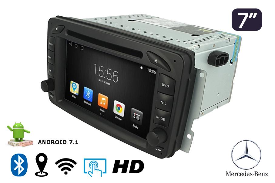 Autoradio 7 Pollici  Android 7.1 -Navigatore GPS Con Bluetooth DAB Control Del Volante Bluetooth--Mercedes-Benz C class W203(2000-2005)--Mercedes-Benz Clk -C209 / W209(1998-2004.5)--Mercedes-Benz Viano/Vito W639 (2004-2006)--Mercedes-Benz Vaneo(2002- - KIT