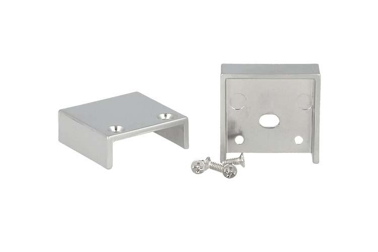 Coppia Tappi Tappini Termine Per Chiusure Profilo Alluminio BA1814 e Diffusore Opale Quadrato BA3343 - PAIO