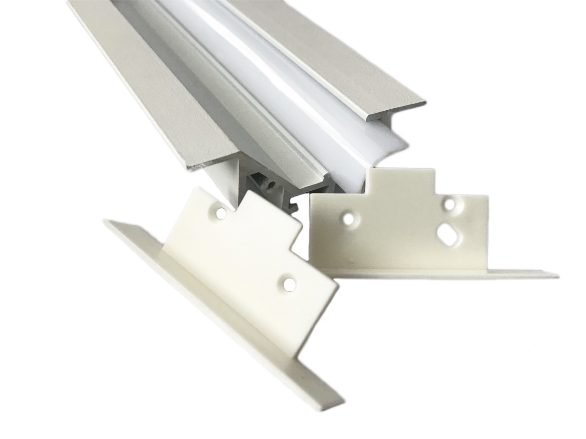 Coppia Tappi Tappini Termine Per Chiusure Profilato Alluminio Da Incasso Luce Asimmetrica BA5320W - PAIO