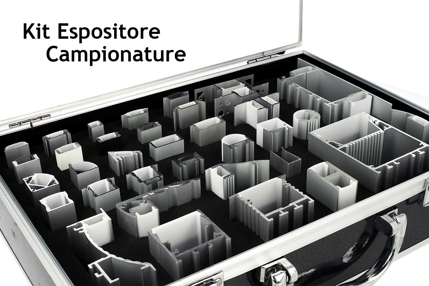 Kit Espositore Campioni Profilati Alluminino e Diffusore Con Valigetta Totale 35 Modelli - PZ