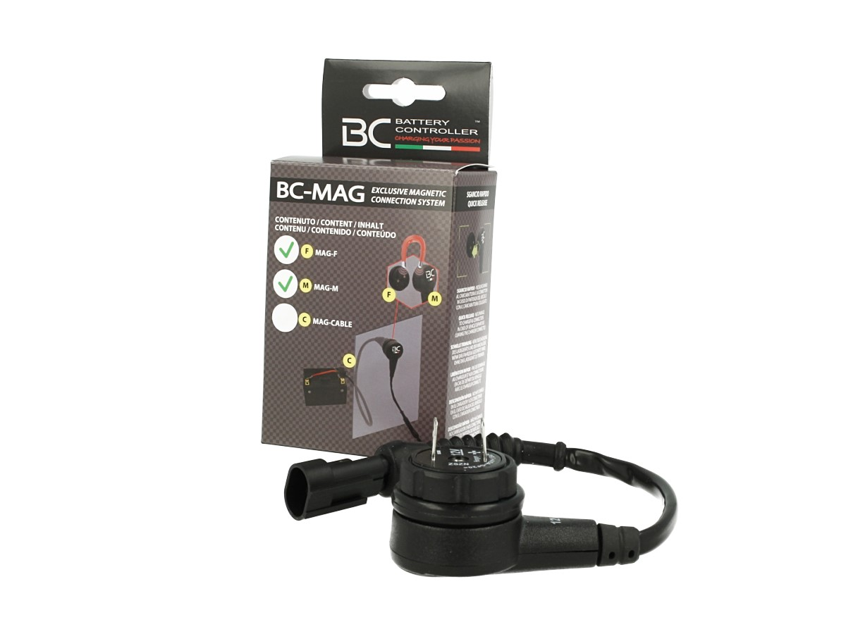 BC-MAG Kit Connettore Magnetico Per Caricabatteria Connessione Rapida Moto Auto MAG-F + MAG-M Fino a 15A 12V - KIT