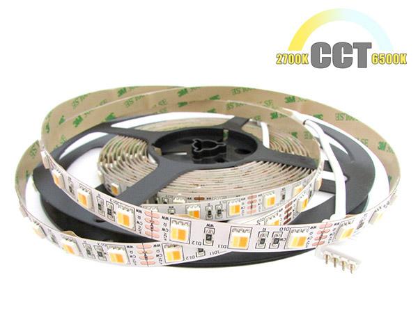 Bobina Striscia Strip Led CCT 300 SMD 5050 WWR 12V Bianco Caldo Neutro Freddo Tutto In Uno Da 2700K A 10000K 5 Metri IP20 - PZ
