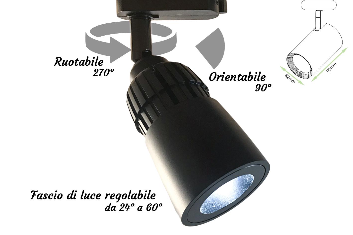 Faro Lampada Led A Binario 10W Bianco Neutro Angolo Luce Regolabile Da 24 a 60 Gradi Corpo Carcassa Nero - PZ
