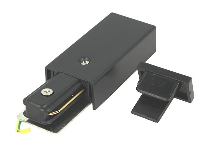 Kit Connettore Alimentazione e Terminale Chiusura Per Binario Guida Mono Fase Colore Nero - PZ