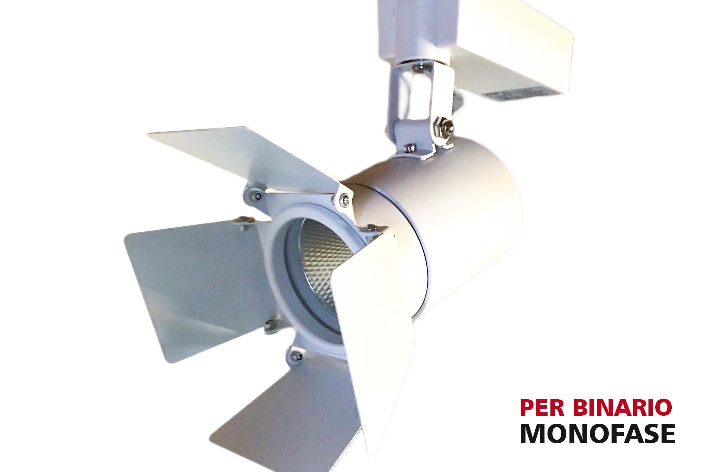 Faro Lampada Led A Binario 30W Bianco Neutro Carcassa Bianca Mono Fase Luce Stretto 24 Gradi Con Riflettore Regolabile - PZ