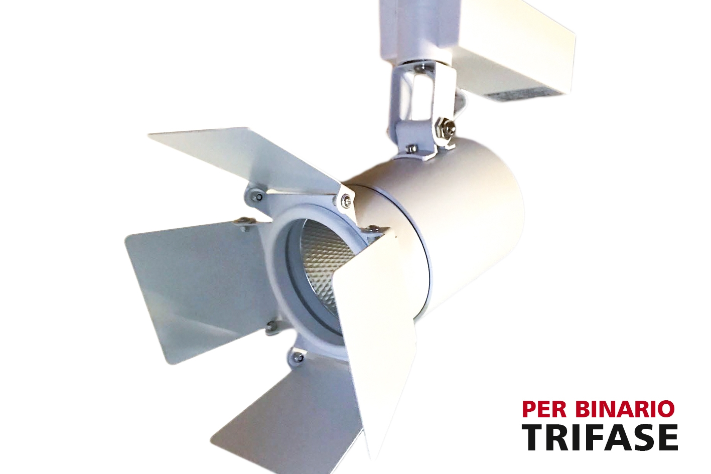 Faro Lampada Led A Binario Trifase 30W Bianco Caldo Carcassa Bianca Luce Stretta 24 Gradi Con Riflettore Regolabile - PZ