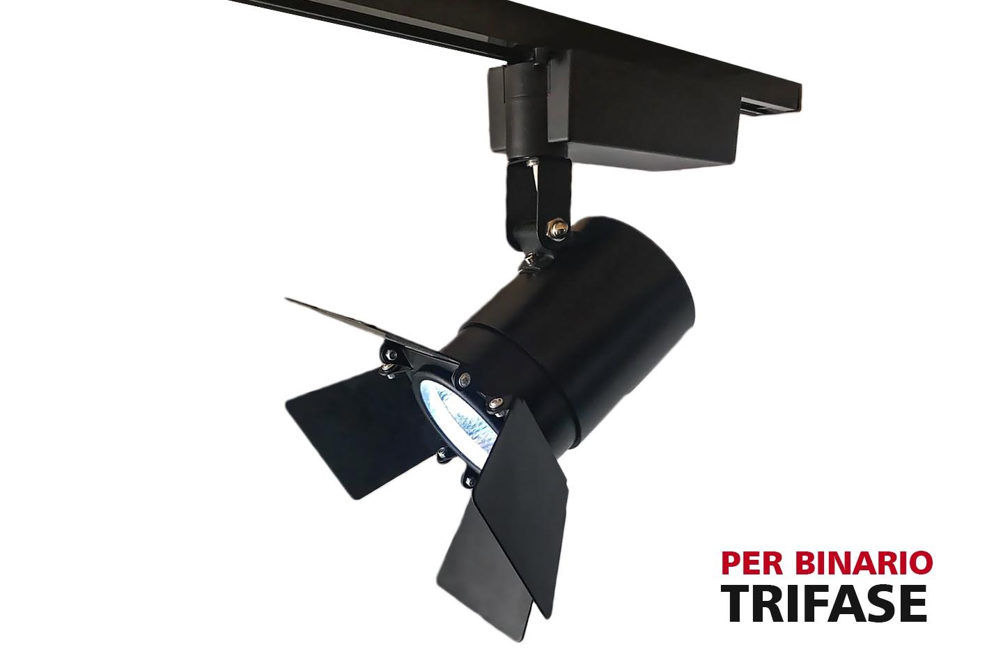 Faro Lampada Led A Binario Trifase 30W Bianco Neutro Carcassa Nera Angolo Stretto 24 Gradi Con Riflettore Regolabile - PZ