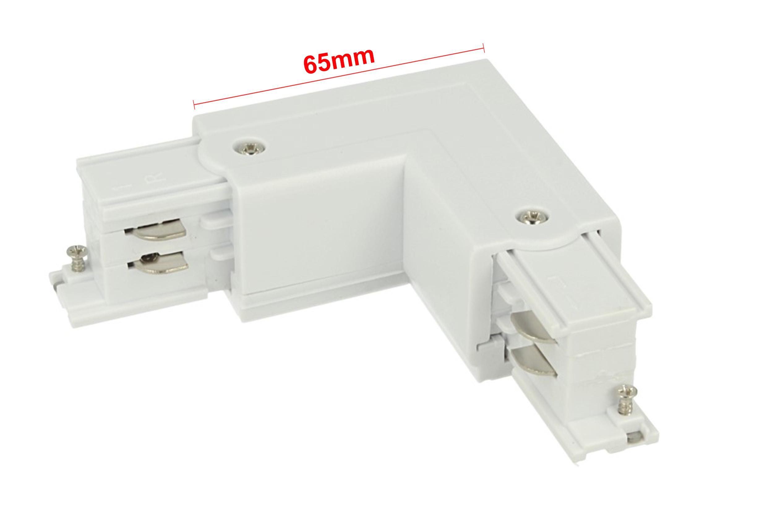 Connettore Giunto Forma L Colore Bianco Per Barra Sistema Binario Trifase CB40103 - PZ