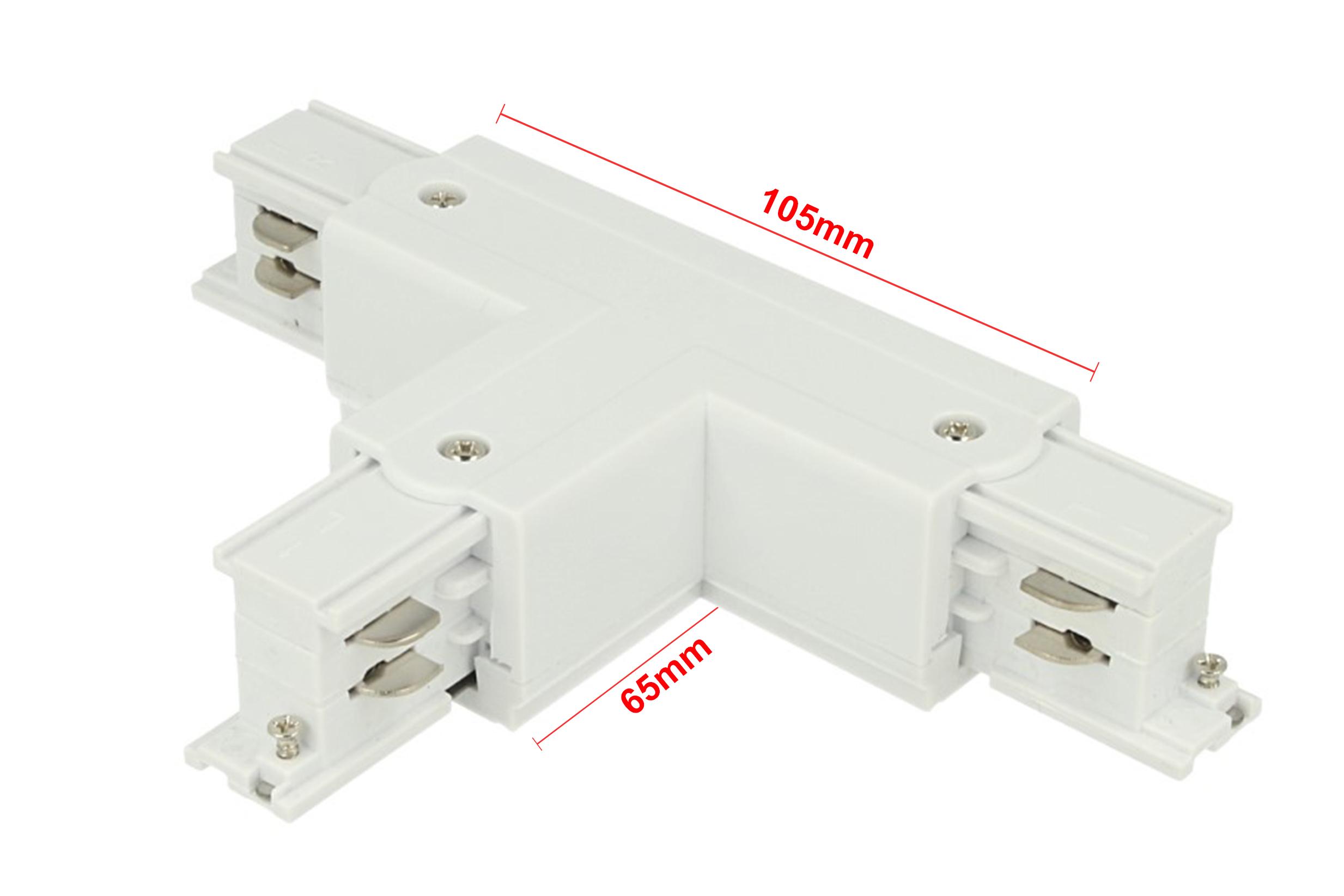 Connettore Giunto Forma T Colore Bianco Per Barra Sistema Binario Trifase CB40103 - PZ