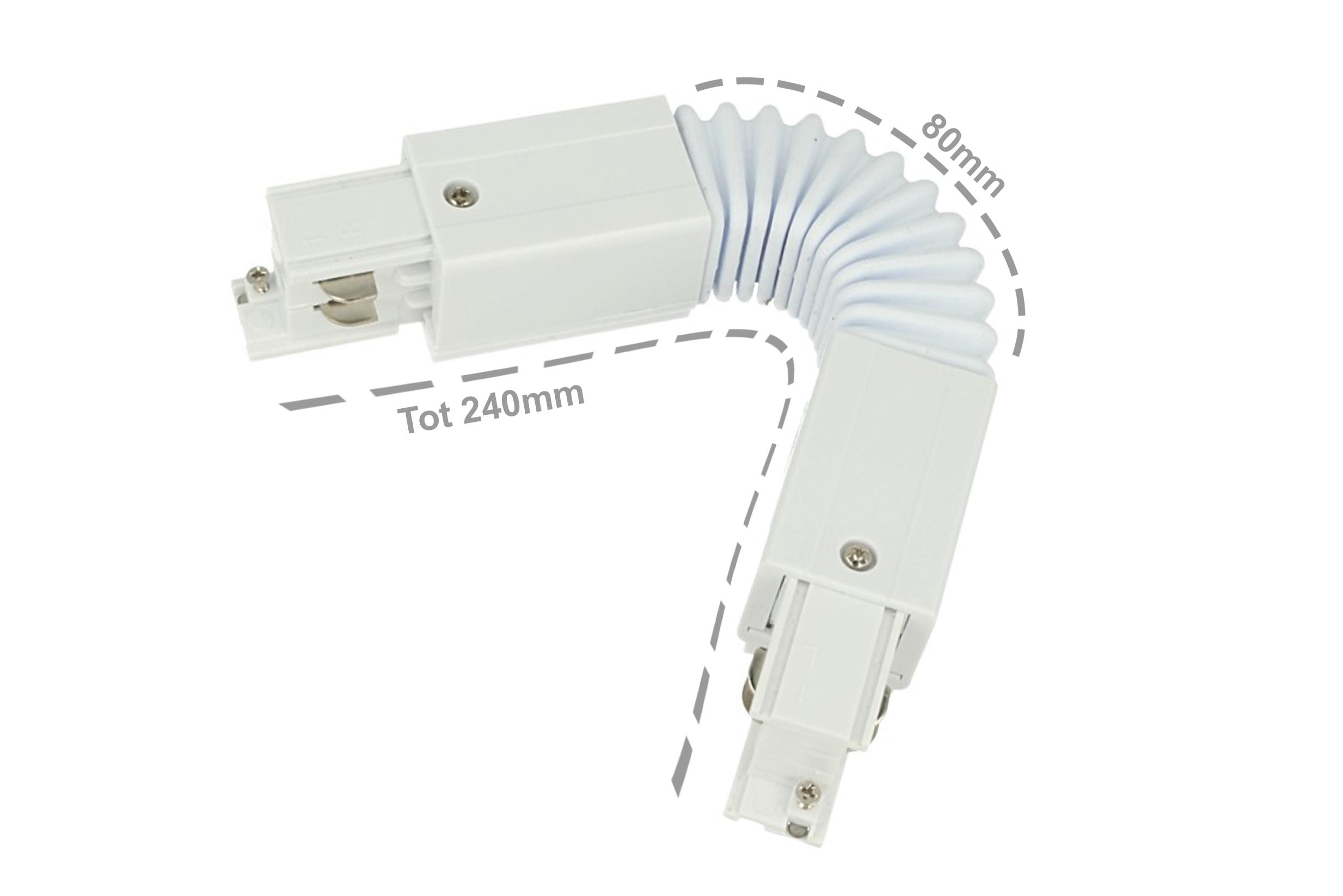 Connettore Giunto Curvabile Forma L Colore Bianco Per Barra Sistema Binario Trifase CB40103 - PZ